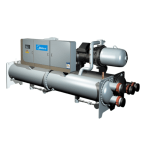 Midea chillers, water cooled chillers, commercial chillers, replacement chillers, energy-efficient, compact, quiet,